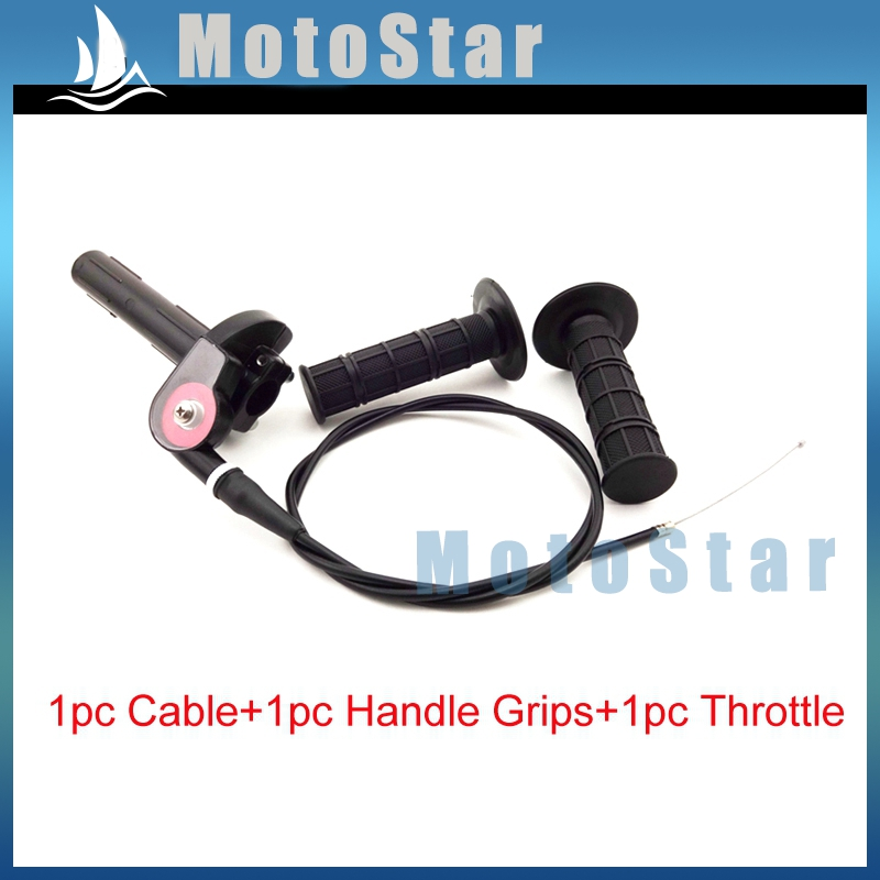 Black Twist Throttle + Handle Grips + Cable Assembly For CRF KLX TTR 110 125 150 200 250 cc Pit Dirt Bike Motorcycle Motocross(China (Mainland))