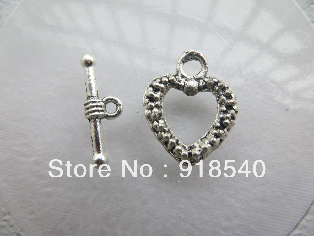 Vintage Ancient 16x20mm100sets/lot Heart Shape toggle clasps for Chunky Necklace Jewelry(China (Mainland))