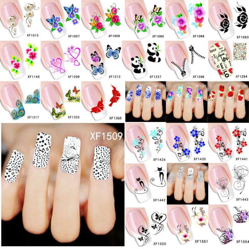 1 Sheets XF1438 etc Nail Art Flowers Water Tranfer Nail Stickers Design Wraps Sticker Decals Decoration Watermark WNAo105(China (Mainland))