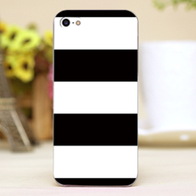 Bold Horizontal Black & White Stripe Design transparent case cover cell mobile phone cases for iphone 4 4s 5 5c 5s hard shell