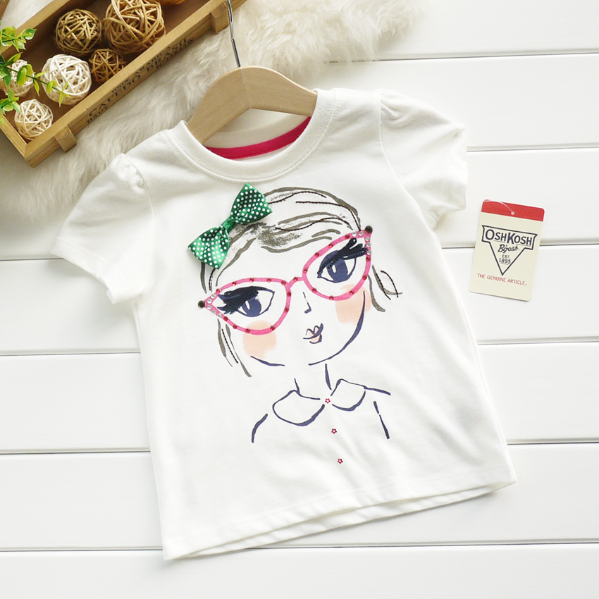 2014 summer children's clothing child oshkosh female newborn white short-sleeve T-shirt glasses - jack situ's store