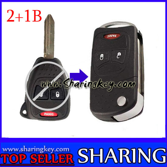 Remodeling Flip Remote key Shell For Chrysler 3 Button Key Fob With Panic Button 10 piece
