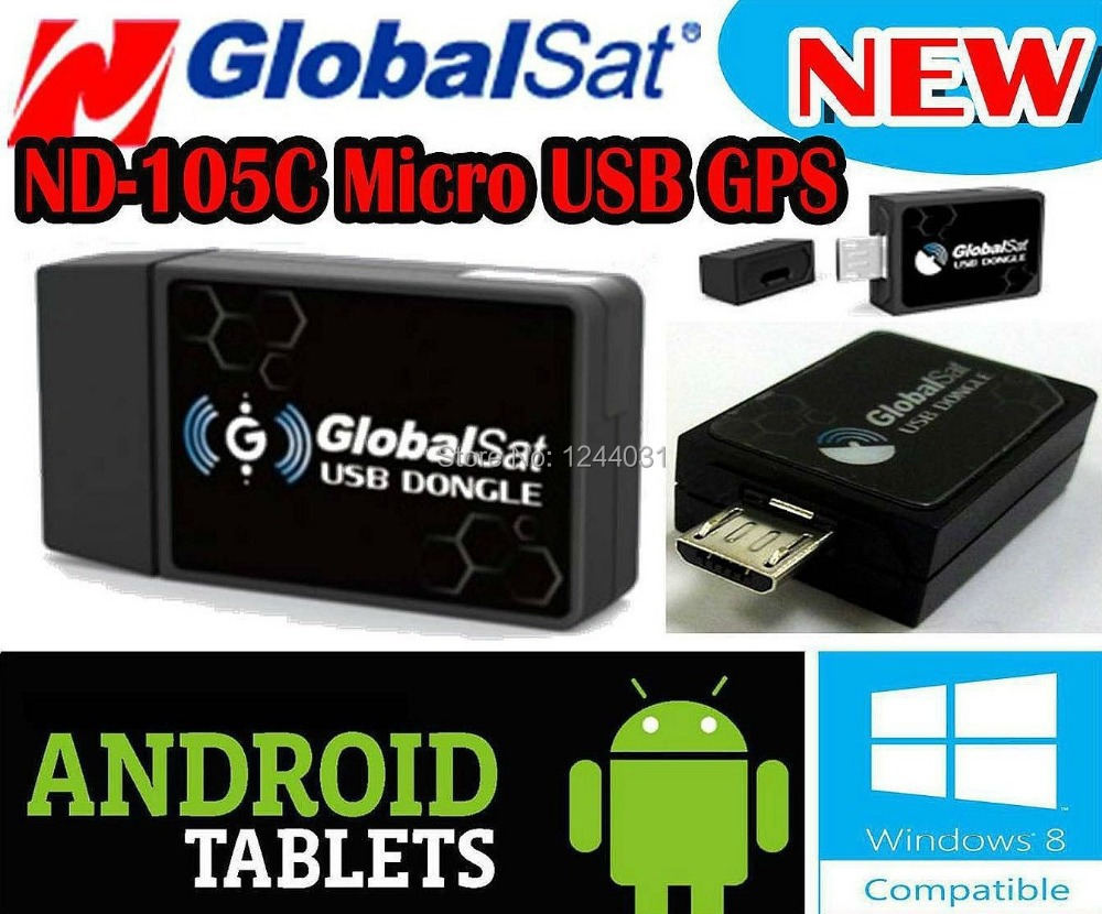 GlobalSat 66 Channels ND-105C GPS Micro USB Dongle Mini GPS Receiver for Notebook Android Tablet Smart Phone PC Free Shipping()
