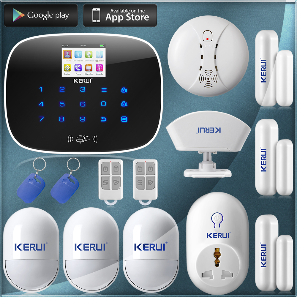 Wireless&amp;wired GSM Home Security Fire Alarm System+Pet inmune PIR Sensors+ door Sensors remind+Switch Smart Socket Plug+Curtain<br><br>Aliexpress