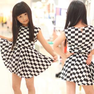 2014 New Arrival, GIrls Sleeveless Check Summer Dress, Kids clothing, Girls Beach Dress,TQL056(China (Mainland))