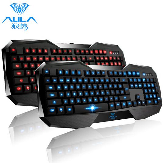AULA Backlight Pro Gaming Keyboard LED Illuminated Wired USB Multimedia Backlit Keyboard Gamer Computer/Dota 2 Game - Blue<br><br>Aliexpress