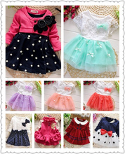 100% Cotton Girl Dresses dresses Baby Kids Children's Lovely princess Two Tones Splicing Polka Dots Dress Free Shipping(China (Mainland))