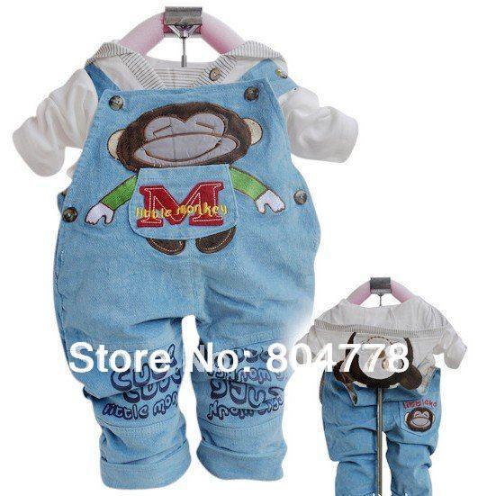 cartoon monkey design lovely baby suits 2 pcs set Suspenders trousers + t shirt 2012 autumn clothes<br><br>Aliexpress