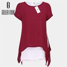Buy Geller Fuuk New 2017 Women Blouse Shirt Summer Chiffon Shirt Casual Ruffles Solid Loose Tops Plus Size Shirts Short Sleeve #G506 for $6.85 in AliExpress store