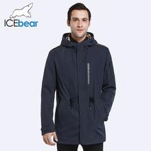 ICEbear 2017 Пальто Для Мужчин Регулируемый Пояс Шляпа Съемная Весна Осень Мужчины Новый Случайный Средней Длины Пальто Куртки 17MC017D(China (Mainland))