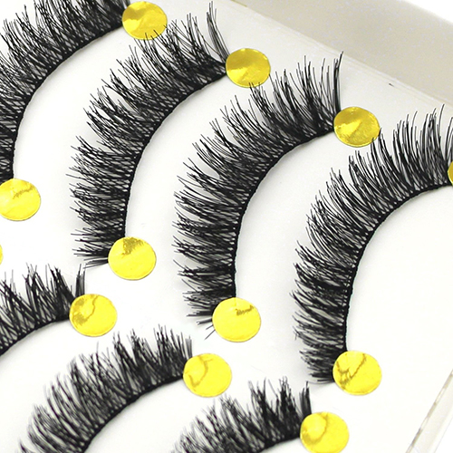 Popular 10 Pairs Handmade Long Thick Cross False Eyelashes Makeup Eye Lashes Extension