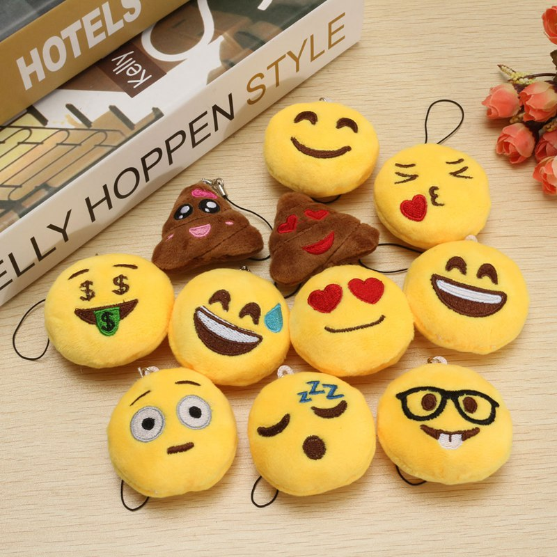 New Arrival Small Pendant Cute Soft Emoji Emotion Smiley Round Cushion mini Toy Doll universal Decor Children Favorite 13 styles(China (Mainland))