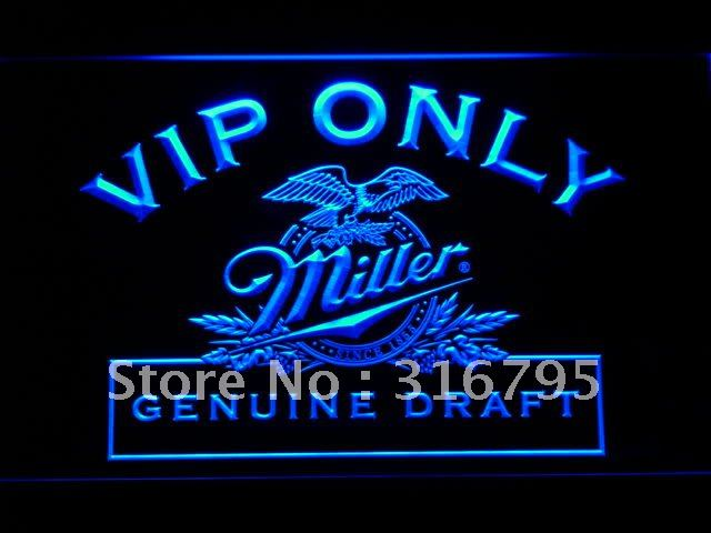 423-b VIP Only Miller Beer LED Neon Light Sign Wholesale Dropshipping On/ Off Switch 7 colors DHL(China (Mainland))
