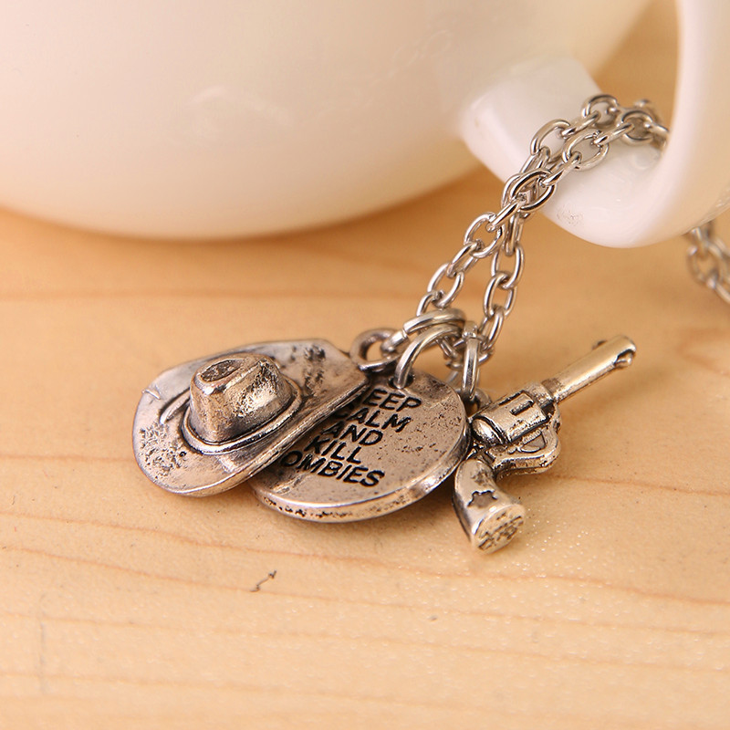 Hot Selling Dead-alive Person Vampire Movie Cowboy Hat Gun Combination Pendant Necklace(China (Mainland))