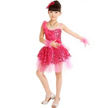 Fashion Girl Rose Sequined Latin Dancewear vestidos Kid Dancing Dress Costume 3 Color