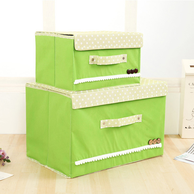Foldable Non-woven Fabric Buttoned Storage Box Clothing Debris Toys Organizer Home Good Helper(China (Mainland))