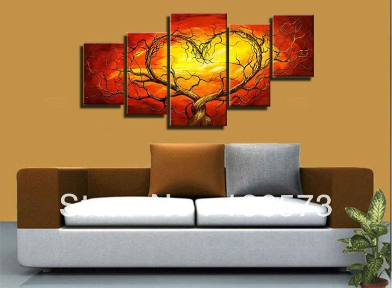 red yellow couple lovers heart tree art canvas painting oil cheap wall art decor room pictures. Black Bedroom Furniture Sets. Home Design Ideas