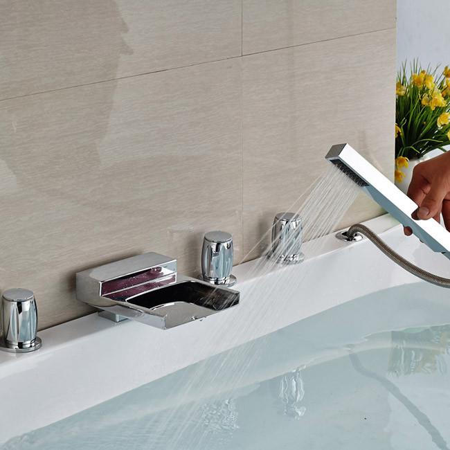 Купить На бортике Ванной Водопад Кран Смеситель Для Ванны, Смеситель 5 шт. для Ванной Ванна в Chrome