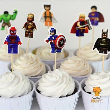 48pcs LEGO The Avengers superman batman Iron Man cake toppers cupcake picks cases kids birthday party decoration candy bar