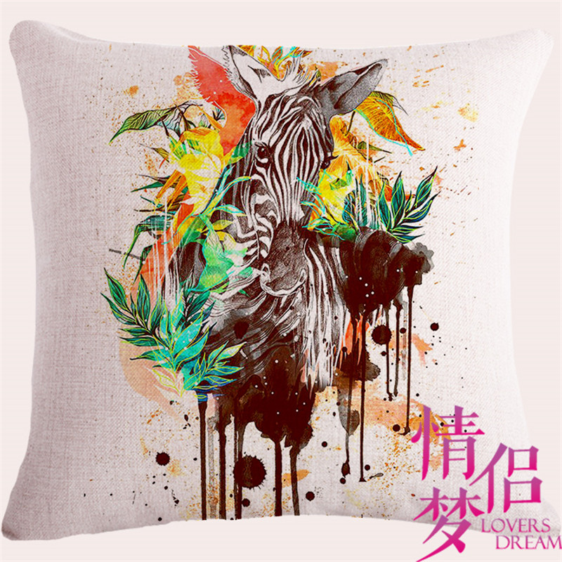 MH High Quality Invisible Zipper Linen funny animals Watercolor tiger leopard zebra deer bird Cushion Cover