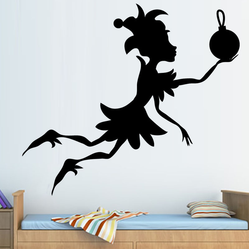 2015 High Quality Christmas Home Decor Cute Elf Wall Sticker Living Room Home Decor Vinyl Wall Decal
