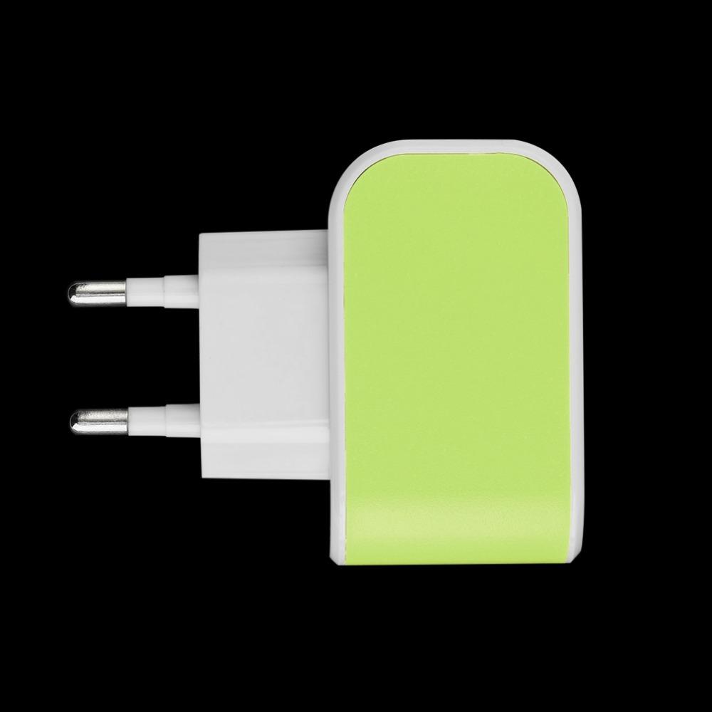 Triple USB Port Wall Home Travel AC Power Adapter 3.1A EU Plug Green Color Power Adapter(China (Mainland))