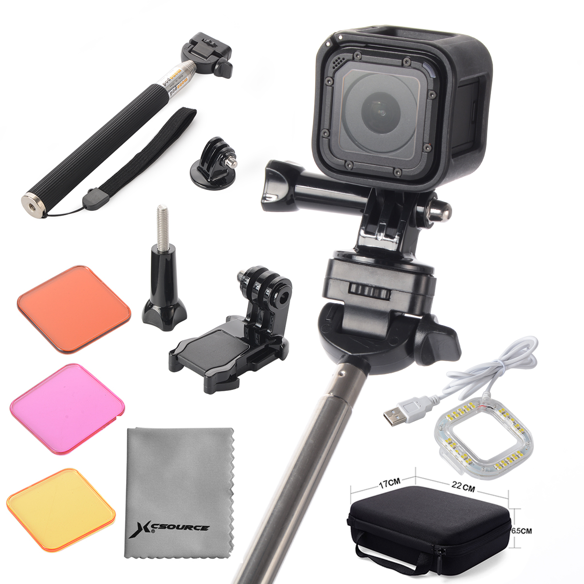 Mount Accessories 12in1 Kit Set for Gopro Hero 4 Session Monopod Bag Case OS473(China (Mainland))