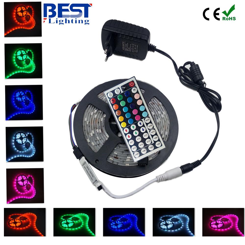 5050 RGB led strip 5m fita de led tape diode feed tiras lampada ac dc 12V led light+44 key rgb controller+ 36W adapter(China (Mainland))