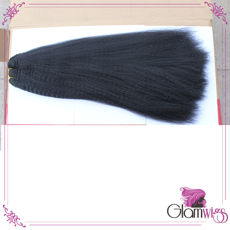 Kinky Straight Synthetic Hair Weaves Black Heat Resistant Fiber Afro Kinky Straight Synthetic Hair Weft Weave Extensions(China (Mainland))