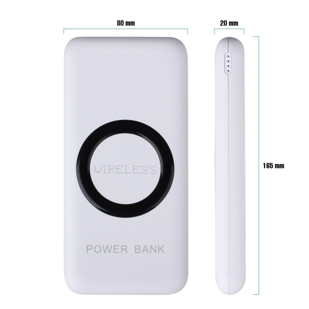 12000mAh Wireless Charger Power Bank Dual USB Port External Mobile Battery Charger Pack Wireless Charging Pad For Smart Phones
