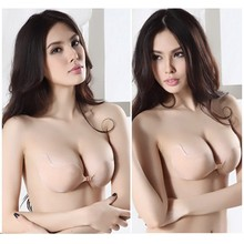 Hot Sale Invisible Reusable Adhesive Backless Push Up Silicone Stick Sexy 32 34 36 38 A B C D Cup V Strapless Bra seamless bras(China (Mainland))