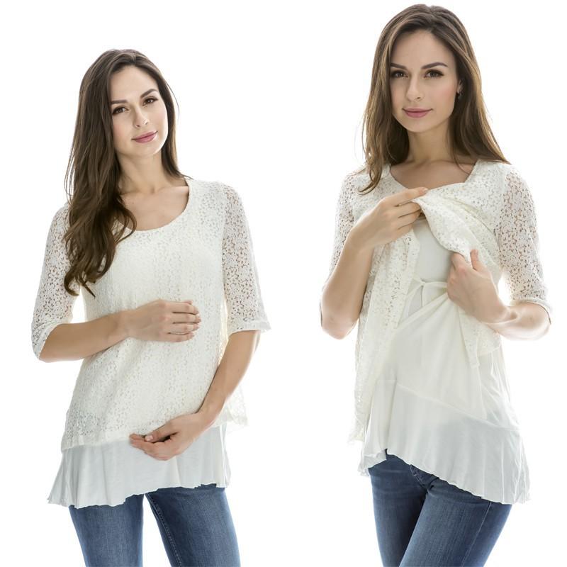 MamaLove Summer maternity clothes Nursing top Maternity T-shirt Breastfeeding tops NEW Lace maternity tops for Pregnant Women(Hong Kong)