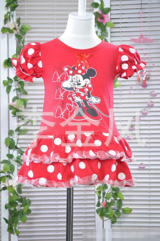 Free shipping minnie dress Baby girl's cotton blended Layered dress Dot Bow TUTU dress pullover O-Neck Dress-1021(China (Mainland))