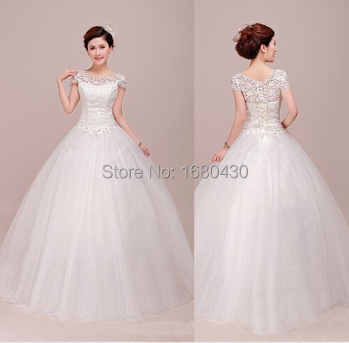 2016 romantic short sleeve elegant formal sexy floor length white lace A-line long wedding dresses - Jiang su Romantic Trade Co., Ltd., store