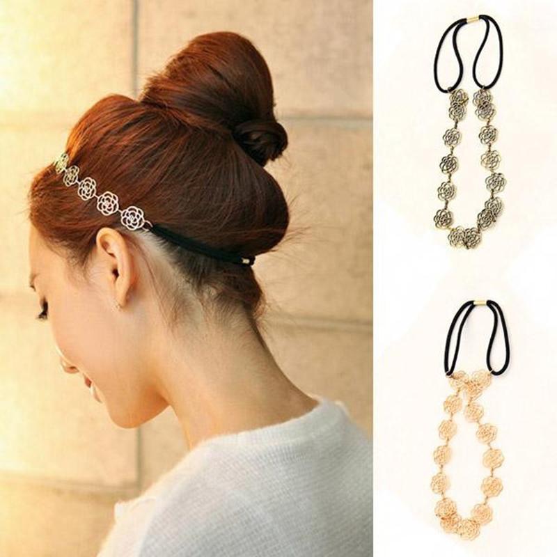 Fashion New Lovely Metallic Lady Hollow Rose Flower Elastic Hair Head Band Headband Headwear Accessories Women Garland(China (Mainland))