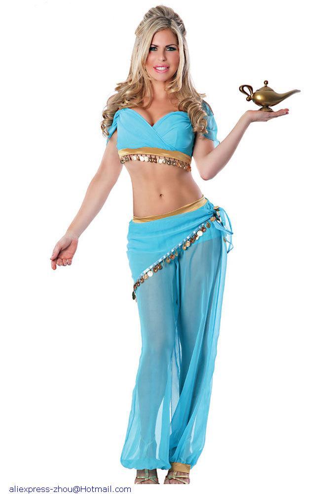 2015 wholesale fascinating ladies sexy genie halloween costume lc8748