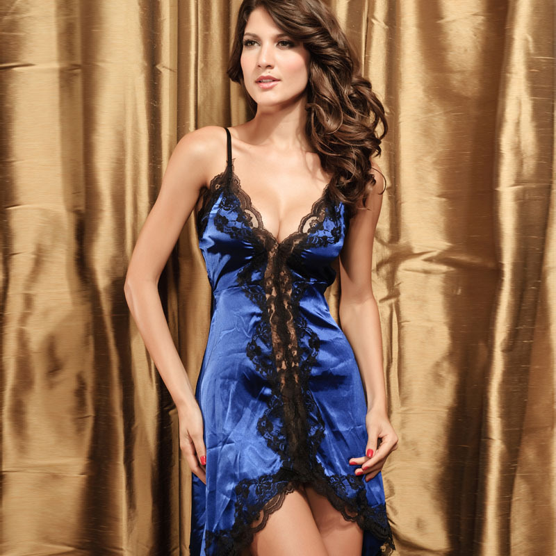 Blue Adult Costume Sexy Nigh Dress For Women Transparent Underwear Products Apparel Intimate Panties Freeshipping Baby Dolls(China (Mainland))