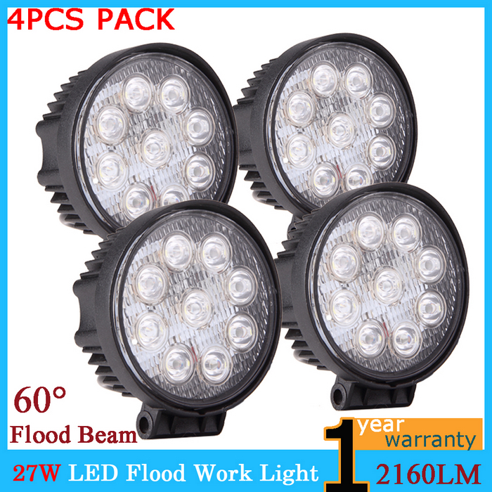 4 inches 27W 12V 24V LED Work Lights Roads Flood Driving Lamp Jeep SUV Boat Truck trailer 4WD 4x4 Car Bike Lighting - Online Store 737340 store