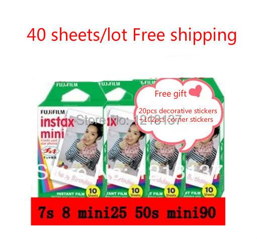 Fujifilm polaroid photo paper mini film paper instax mini films mini8 mini7s mini25 50s 90s 40sheets(China (Mainland))