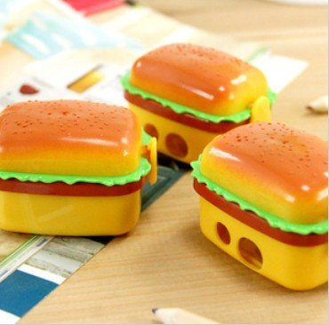 New double holes Double Layer simulation Hamburger Pencil Sharpener cutters(1Pcs+2Pcs erasers) Pencil Sharpeners  /Free shipping<br><br>Aliexpress