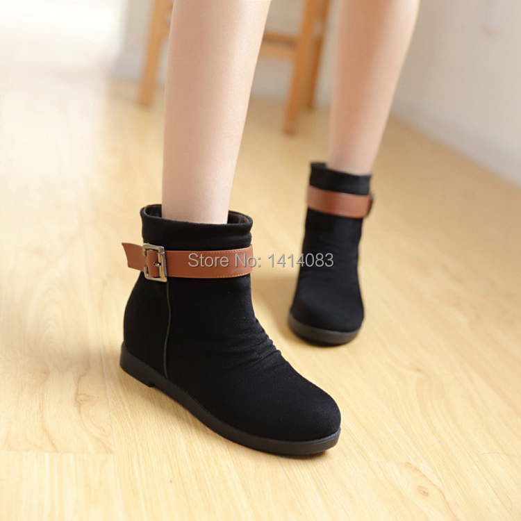 Autumn new arrival lolita style ankle boots pleated belt buckle decorated Martin boots low heel women boots big size 34~43CN(China (Mainland))