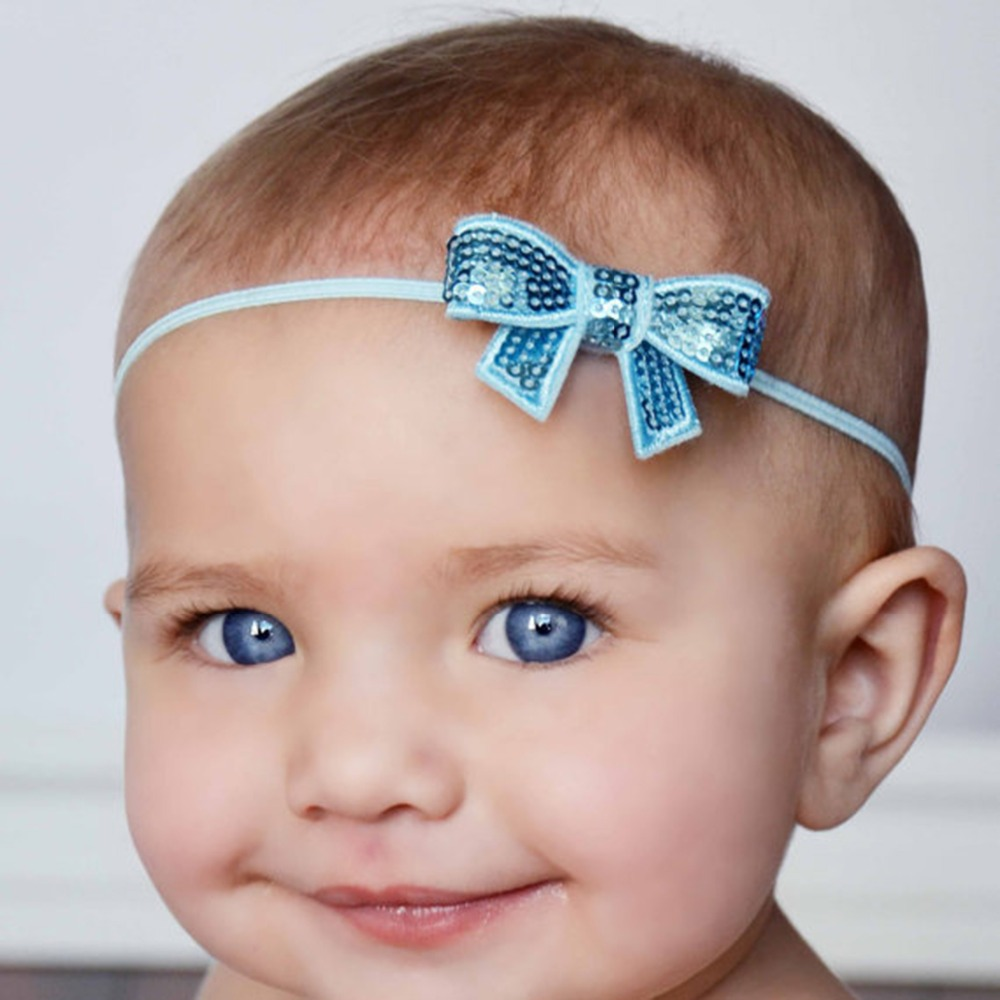 2016 Christmas Baby Headbands baby flower head band with sparkly sequin bow Hair Accessories(China (Mainland))