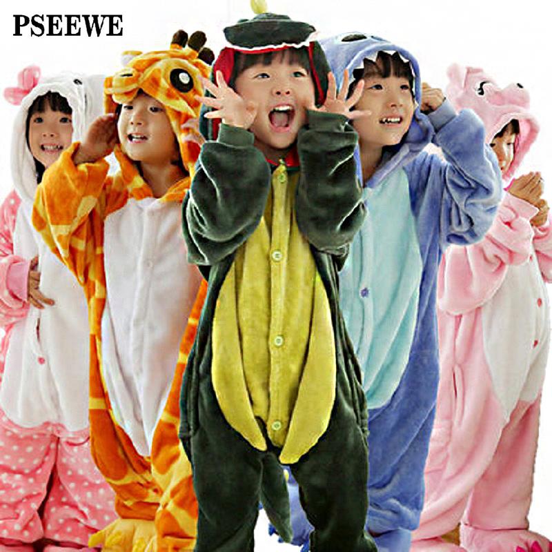 Children's pajamas Winter Flannel Animal pajamas one piece Totoro /Stitch /Panda /dinosaur /Pikachu Bbay Boys girls pyjamas kids(China (Mainland))