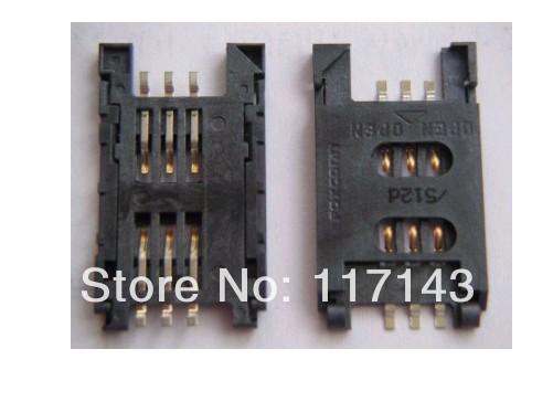 10 pieces / lot Free Shipping SIM card slot Supporting SIM908 SIM900 SIM5320 SIM800E high temperature resistant 2.54 6PIN