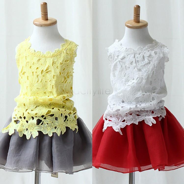 2015 summer new kids girls clothing set,new design Lace Crochet Tank Tops + Tutu Skirt 2 pcs girl Skirt Set, kids clothes 51(China (Mainland))