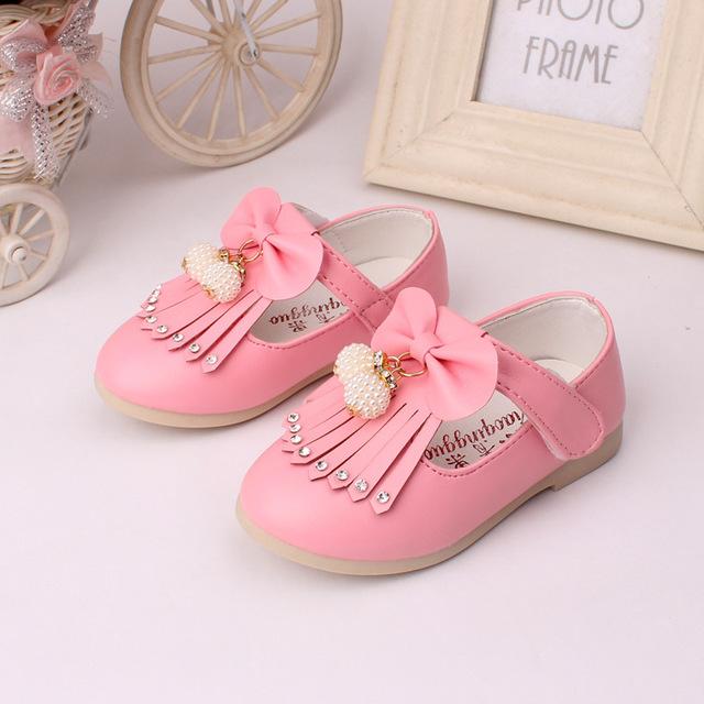 T2016 Весна Лето Новый Детская Обувь Детская Мода Принцесса Кожаные Ботинки Девушки Площадь Рот Кожаные Ботинки Красный Розовый