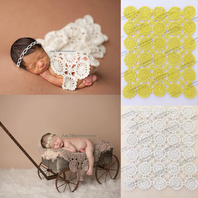 Handmade Crochet baby blanket photography props Blankets Newborn Photography Props,Rosette Wrap Baby Pattern Knitted Photo Props(China (Mainland))
