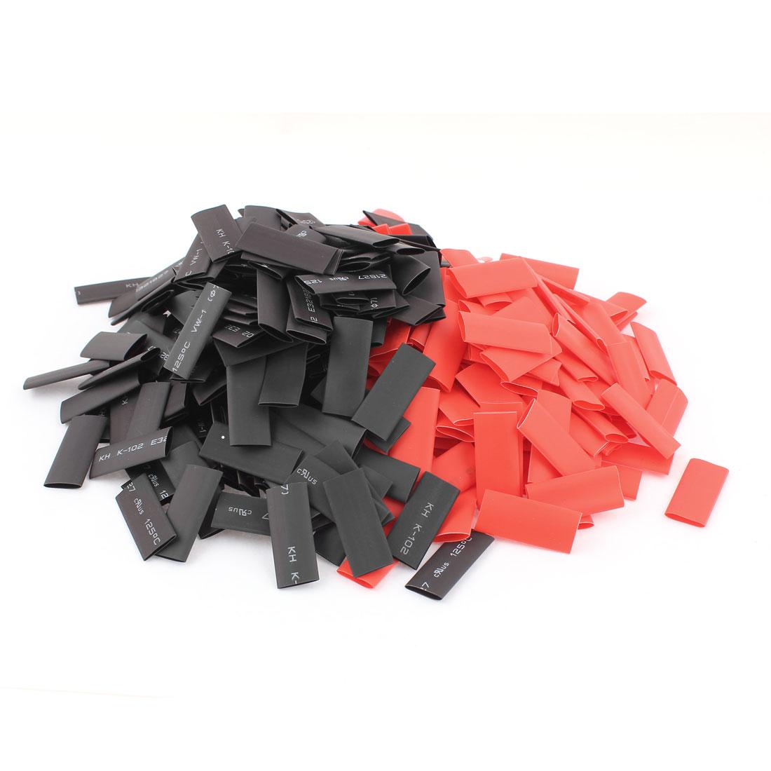 Red Black 8Mm 7Mm Dia 2:1 Polyolefin Heat Shrink Shrinkable Tube 30Mm 400Pcs(China (Mainland))