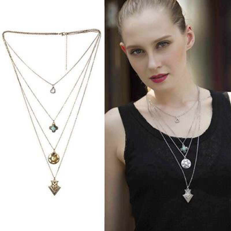 Fashion Turquoise Arrow Pendant Necklace Multilevel Long Tassel Collier for Women Shirts Accessories Bohemia Style Maxi Necklace(China (Mainland))