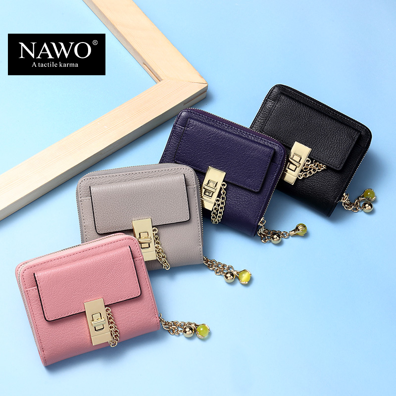 NAWO 2016 New Fashion Cow Real Genuine Leather Women Wallets Pink Luxury Brand Womens Small Wallet Ladies Short Coin Purse Gift(China (Mainland))